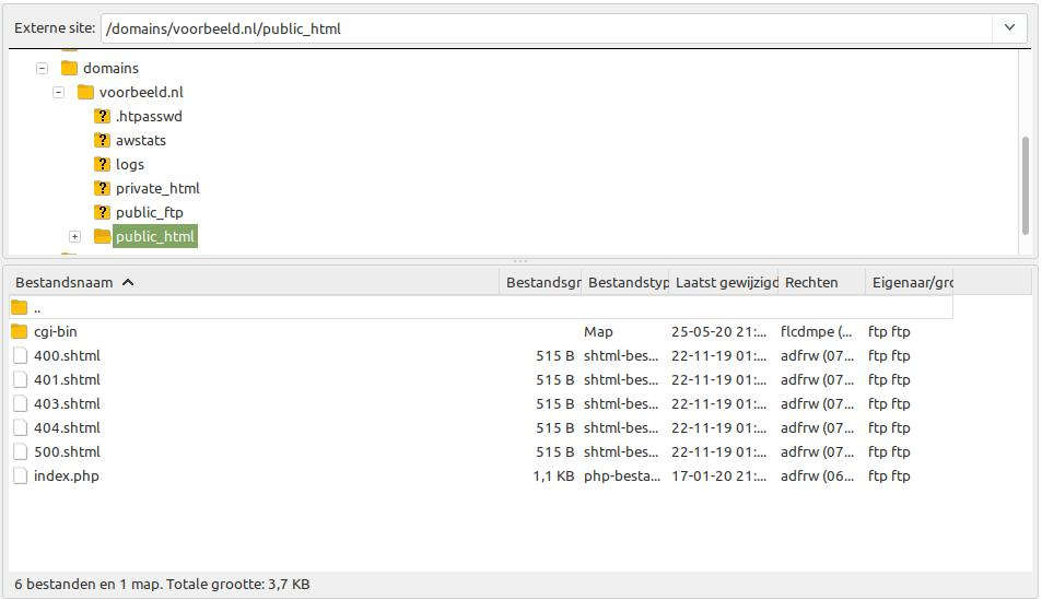 Filezilla Web Bestanden