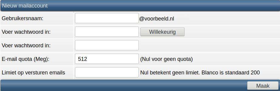 Nieuw mailaccount form