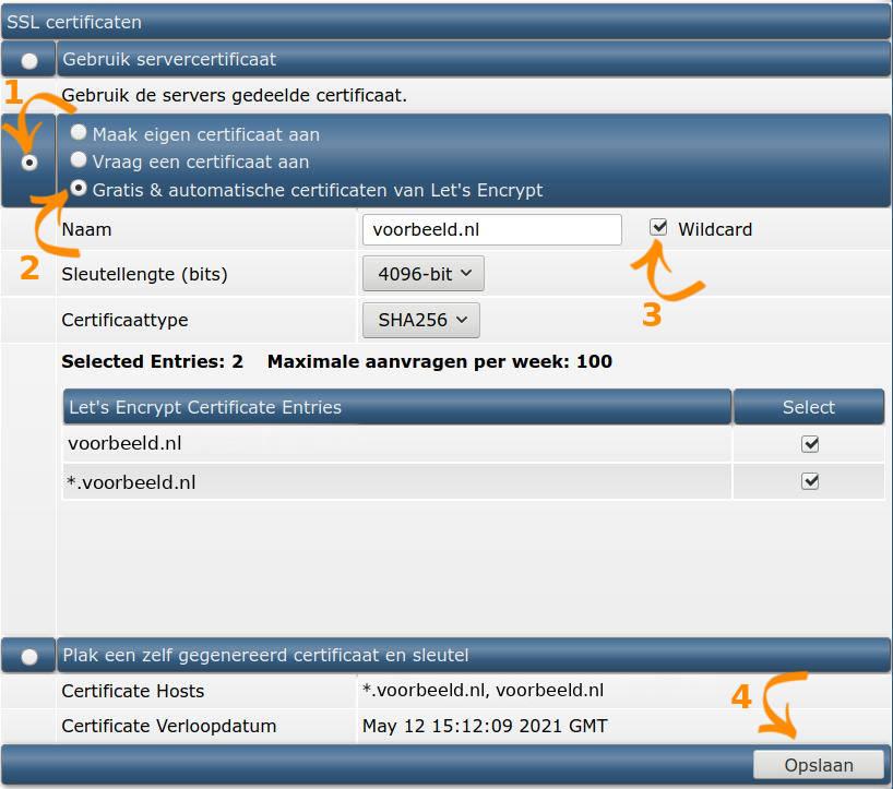 SSL Certificaten Form